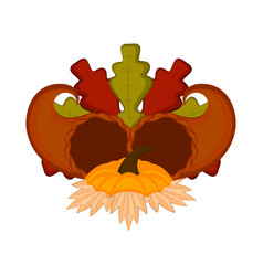 Pair of cornucopias with leaves thanksgiving vector