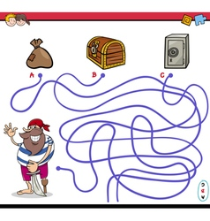 path maze activity with pirate vector image