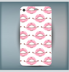 Phone case closeup beautiful lips of woman sexy vector