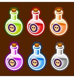 Poison cartoon bottles liquids colors elements vector