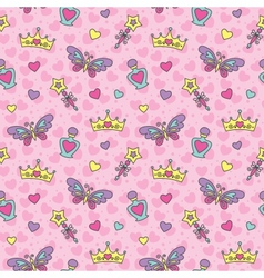 princess seamless pattern vector image