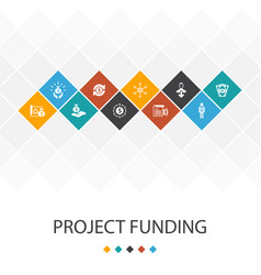 Project funding trendy ui template infographics vector
