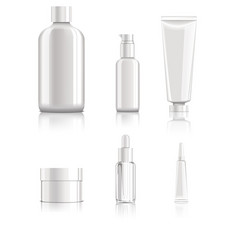 Realistic blank cosmetic packages set vector