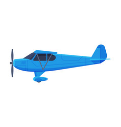 retro blue airplane with propeller flying vector image