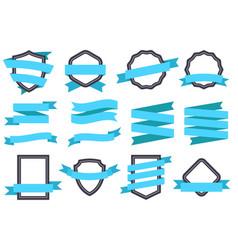 Ribbon banner frames and ribbons blue flat vector