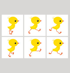 running chicken animation sprite sheet isolated vector image