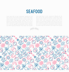 seafood concept with thin line icons vector image