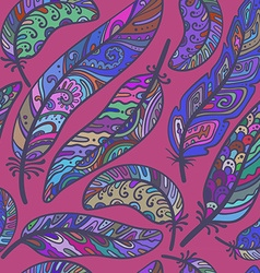 Seamless pattern of colorful ornamental bird vector image