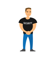 Security standing on entrance strong character vector