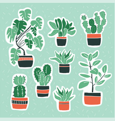 set cute flowers in vases house plants vector image