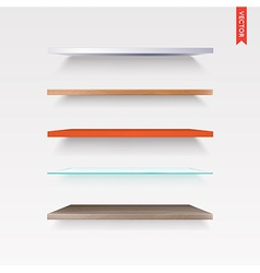 Set of Glass Wood Plastic Metal Shelves in vector