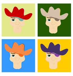 Set of portrait man in cowboy hat flat vector