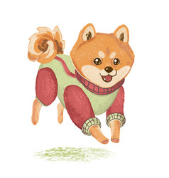 siba inu runs jumps and rejoices vector image