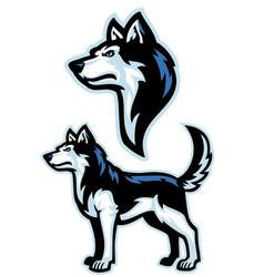Siberian husky dog mascot set vector
