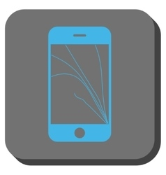 Smartphone screen cracks rounded square button vector