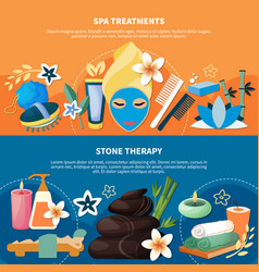 spa treatments 2 flat banners vector image