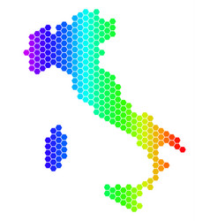 Spectrum hexagon italy map vector