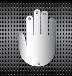 Stopping metal hand vector image