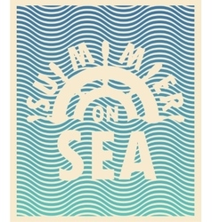 summer on sea and ship steering wheel vector image