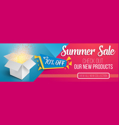 summer sale banner template open box vector image