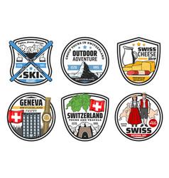 switzerland culture travel landmarks icons vector image