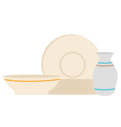 Tableware sale plate and bowl with jug vector