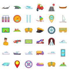 Transport icons set cartoon style vector
