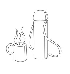 travelling thermos with a cup vector image