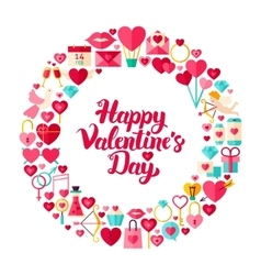 Valentines Day Flat Circle vector