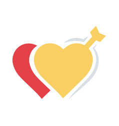 Valentines two heart arrow flat vector
