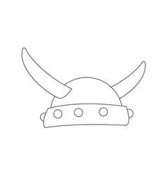 Viking horned helmet ancient costume vector