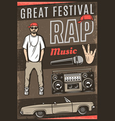 vintage colored rap music festival poster vector image