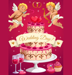 Wedding day cake and cupids love hearts vector