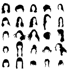 Woman hair style silhouettes set vector
