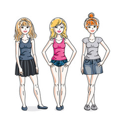 Young beautiful women group standing in stylish vector