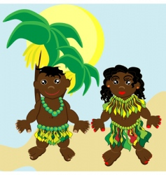 cartoon Papuan children vector image