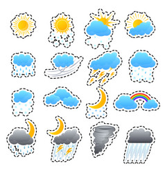 cartoon weather color icons sticker set vector image
