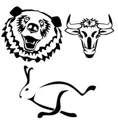 Characters hare bull bear vector image vector image
