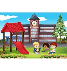 Children using computer in the park vector image