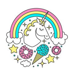 circle composition with unicorn rainbow vector image vector image