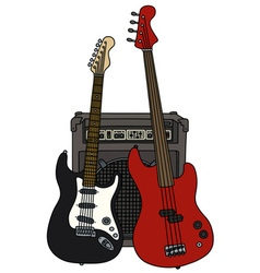 Classic and bass electric guitars and the combo vector image vector image