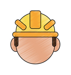 color pencil cartoon front view faceless worker vector image