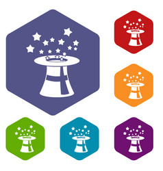magic hat with stars icons set vector image vector image