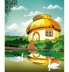 realistic landscape-hut at the pond with swans vector image