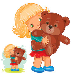 small girl playing with teddy bear vector image vector image