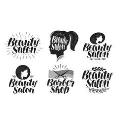 Beauty salon label set makeup barbershop logo vector