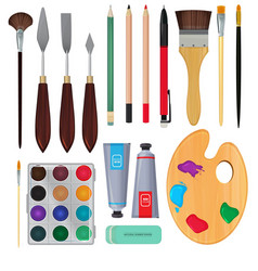 different materials for artists equipment for vector image