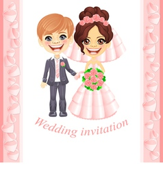 Pink wedding invitation vector