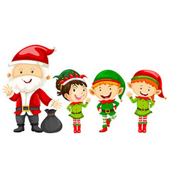 Santa and elves for christmas vector image