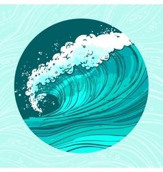 Sea waves circle vector image